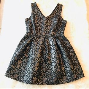 One Clothing Silver/Black Brocade Party Dress M/L